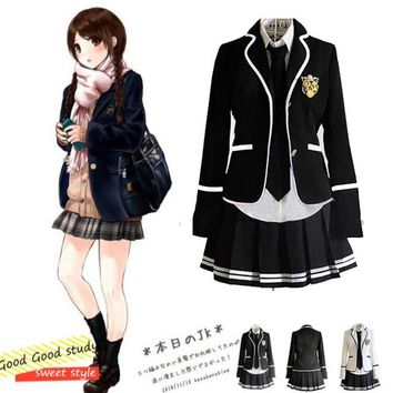 Girl Japanese School Uniform Cosplay Costume Black Red Plaid Skirt Tops Coat Sets