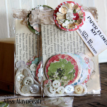 DIY paper flower kit. Make your own embellishments for scrapbooking or papercrafting.