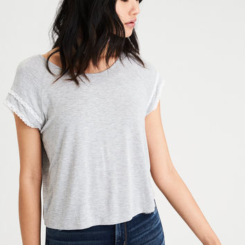 AE Soft & Sexy Lace Trim Raglan T-Shirt, Gray