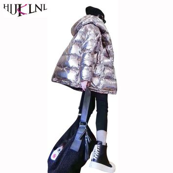 HIJKLNL cazadoras mujer invierno 2017 Winter Women Thick Hood Jacket Metallic Color Shine Cotton Coat Femme Puffer Jacket NA549