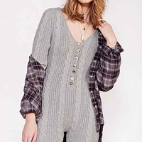 KNITZ By For Love & Lemons X UO Long-Sleeve Jumpsuit- Grey