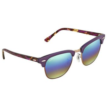 Ray Ban Clubmaster Green Rainbow Flash Square Sunglasses RB3016 221C3E 49