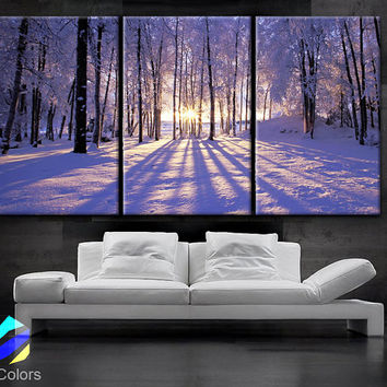 "LARGE 30""x 60"" 3  Panels Art Canvas Print beautiful Sunset Winter season Snow Trees Landscapes nature Wall Home decor (framed 1.5"" depth)"
