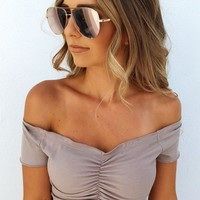 Casually Cool Crop Top: Taupe