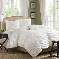 Madison Park Delancey White 4-Piece Comforter Set