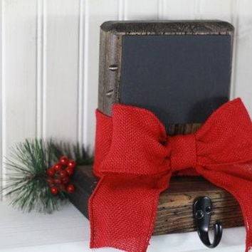Rustic Christmas Stocking Holders, Red Burlap Ribbon,  Holiday Stocking Holders, Mantel Stocking Holders,Holiday Chalkboard,Holiday Decor