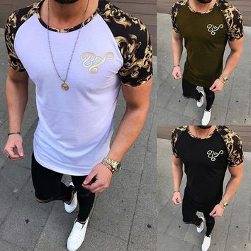S~3XL Casual Style O-neck Short Sleeve T-shirt Cotton Tee Men's