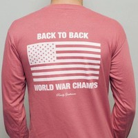 Back to Back World War Champs Long Sleeve Tee in Heathered Red by Rowdy Gentleman