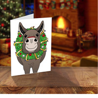 Donkey Christmas Cards, Donkey Holiday Card, Farm Christmas Cards, Livestock Greeting Card, Cute Donkey Christmas Wreath, Illustrated Cards