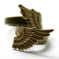 Angel Wing Ring Set GOLD Double 2 Finger by robinhoodcouture