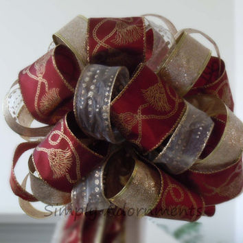 Burgundy Red Gold Christmas Tree Topper Bow Sparkle Glitter Gold Burgundy Christmas Wreaths Swags Bow Wedding Arbors Decorative Bow