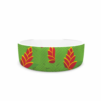 "Yenty Jap ""Heliconia"" Green Red Pet Bowl"