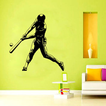 Wall Decals Sport Baseball Ballplayer Athlete Player Sports Game Sportsman Gym Interior Sporting Event Home Decor Vinyl Decal Sticker  ML121