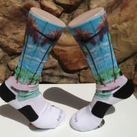 Palm Beach Scene Custom Nike Elite Socks Free Shipping