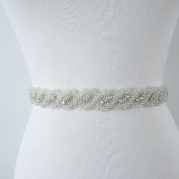 SALE Wedding Belt, Bridal Belt, Sash Belt, Crystal Rhinestone B2045