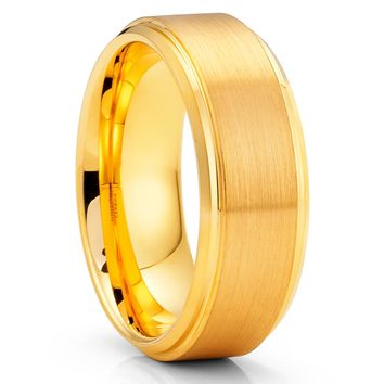 Yellow Gold Tungsten Ring - 8mm - Yellow Gold Tungsten Band - Anniversary Ring