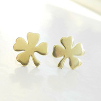 Shamrock Earring Studs,Four Leaf Clover Earrings,St Patricks Day,Clover Earrings,Shamrock Jewelry,Luck of the Irish,Sterling Silver (E250)