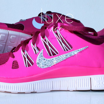 a886f27b80ee NIKE run free 5.0 running shoes w Swarovski Crystals detail - Pink