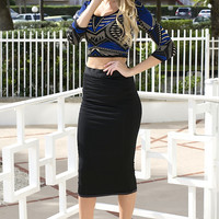 Advanced Knit Mid Skirt - Black