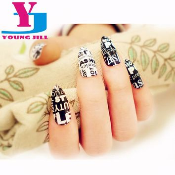 New Acrylic Nail Tips Full Cover Fake Nail Art False Nails Faux Nails Accessories 2016 Letter Design Manicure Tool Set With Glue