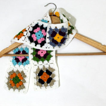 Granny Square Scarf / Colorful / Handmade Square scarf / Valentines day / Mother's Day Gift / Mitten