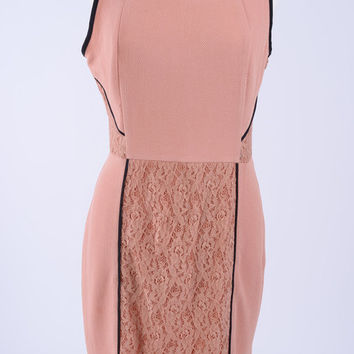 Lacing Stripes Dress, Blush