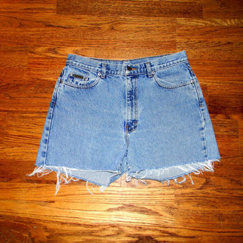 Vintage Denim Cut Offs - 80s/90s Light Stone Wash Jean Shorts - High Waisted/Frayed/Distressed SHORT Shorts by Calvin Klein - Size Misses 14
