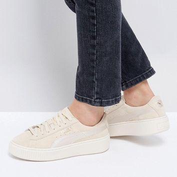 Puma Suede Satin Platform Trainers in Beige at asos.com