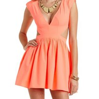 Neon Cut-Out Deep V Skater Dress by Charlotte Russe - Olive