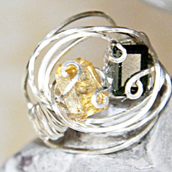 Yellow Citrine and Green Garnet Sterling Silver Wire Wrapped Ring - Size 4.5 Sterling Silver Semi Precious Gemstone Ring - Yin Yang Ring