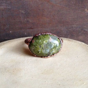 Oval Jasper Ring - Stone Ring - Raw Stone Ring - Copper Ring - Semiprecious Stone Ring - SIZE 9