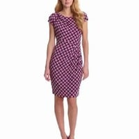 Vince Camuto Women's Rouched Boat Neck Colorful Rings Dress