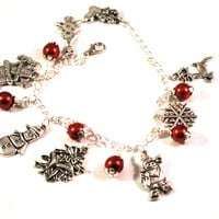 Christmas Snowman, Santa and Snowflake Charm Bracelet with Red Ornaments