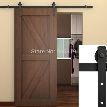 "7.5Ft Black Steel Rustic American Style Sliding Barn Door Hardware16"" Apart Holes Drilled On Track"