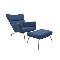 Futuristic Lounge Chair & Ottoman Set in Blue