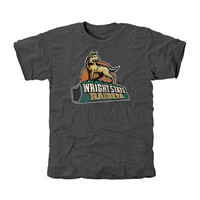 Wright State Raiders Distressed Primary Tri-Blend T-Shirt - Charcoal