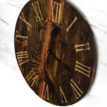 Reclaimed Barn Wood Wall Clock, Oversized Rustic Clock, Large Wood Clock, Romen Numeral Clock, Christmas Gift