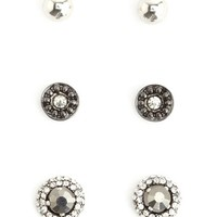 METALLIC STUD EARRING SET