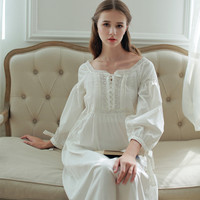 2016High Quality Cotton Home Nightwear Ankle-length Vestidos Vintage Long Gown Pyjama Medieval Party Pure Princess Dress Female