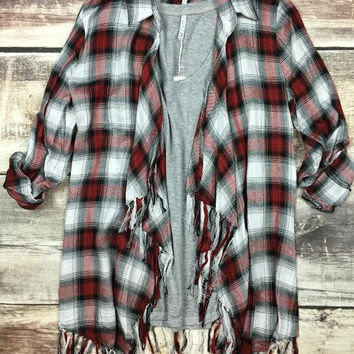 Red Willow Plaid Cardigan