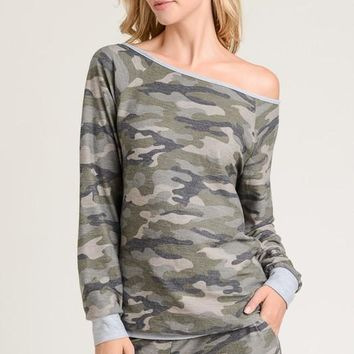 Camo Top with Boat Neck & Banded Cuffs & Hem