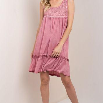 Dusty Rose Mineral Wash Lace Dress