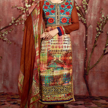 Rust and Blue Floral Zari Embroidered Straight Cut Suit