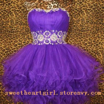 Cute sweetheart purple mini princess dress
