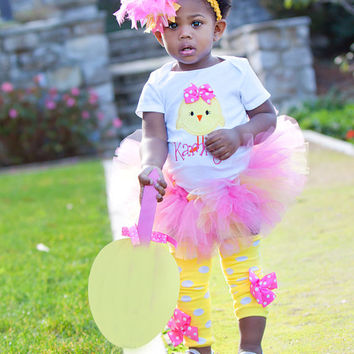 Baby Girl Easter Tutu Outfit -- Hot Pink Chickie -- tutu, Onesuit, leg warmers and Over The Top bow -- pink and yellow