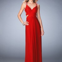 La Femme 22089 Alluring Criss Cross Ruched Prom Dress
