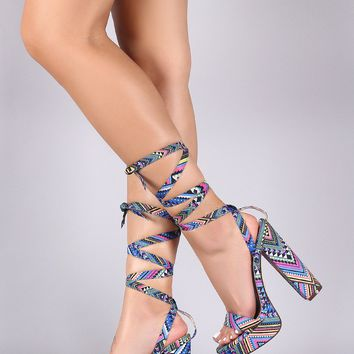 Liliana Lace-Up Tribal Platform Chunky Heels