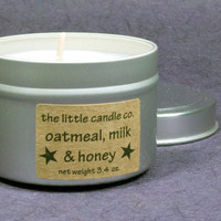 Oatmeal, Milk & Honey Soy Candle Tin - Hand Poured and Highly Scented Container Candles