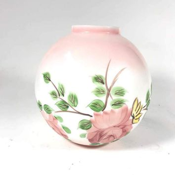 Art Glass Hand Painted Floral Pink Vase