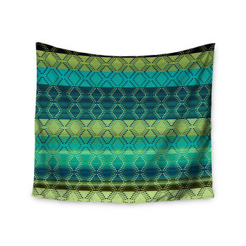 "Nina May ""Denin Diamond Gradient Green"" Turquoise Emerald Wall Tapestry"